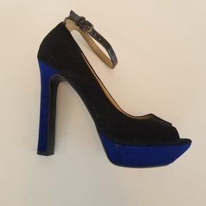 Zara Trafaluc Suede Black&Blue Platform Heels 8.5